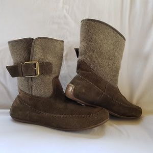 "Lucky Brand ""Aisley""  Suede/Knit Boots"